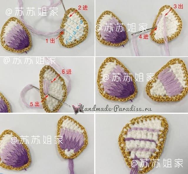Брошь «Бабочка» крючком с вышивкой (8)