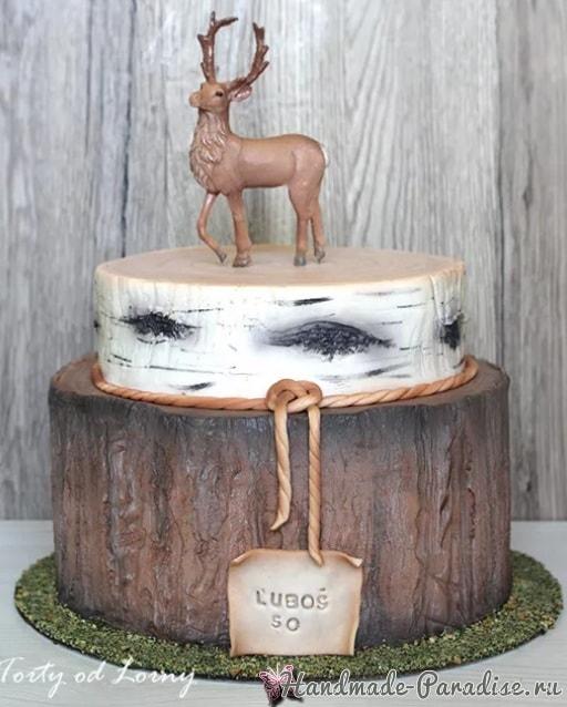 Эффект коры дерева из сахарной мастики для торта (1)