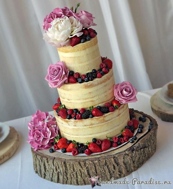 Эффект коры дерева из сахарной мастики для торта (2)
