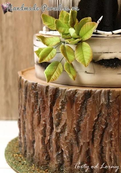 Эффект коры дерева из сахарной мастики для торта (3)