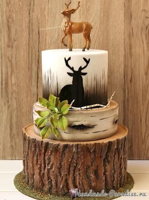 Эффект коры дерева из сахарной мастики для торта (4)