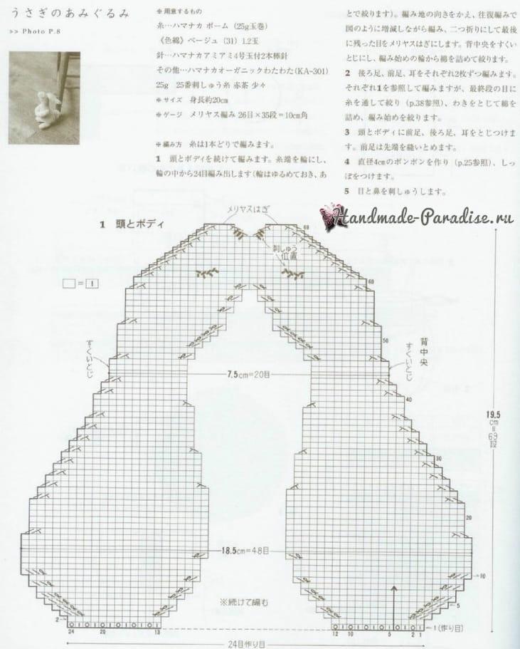Кролик спицами. Схема вязания (4)