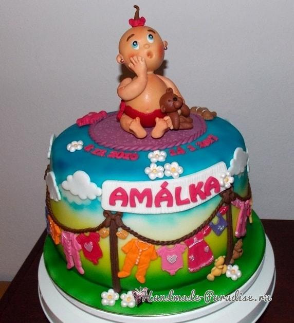 Лепка младенца для детского торта (4)