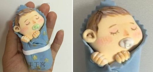 Младенец в пеленках. Лепка из полимерной глины (12)