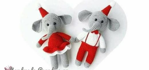 Новогодние игрушки крючком. Слоники амигуруми (1)
