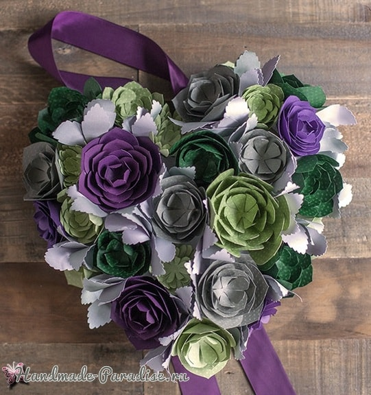 Сердце-валентинка из бумажных суккулентов (1)