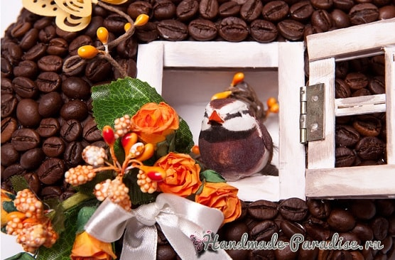 Валентинка из кофейных зерен - домик для птички (2)