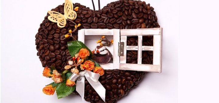 Валентинка из кофейных зерен - домик для птички (3)