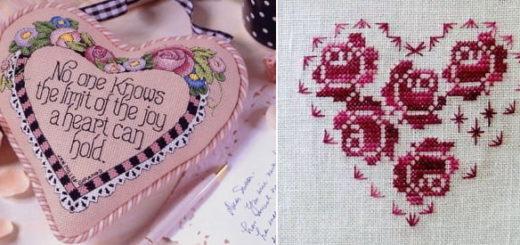 Вышиваем валентинку. Схемы вышивки