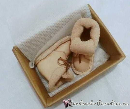 Как сшить кожаные ботинки и сумочку для куклы (20)