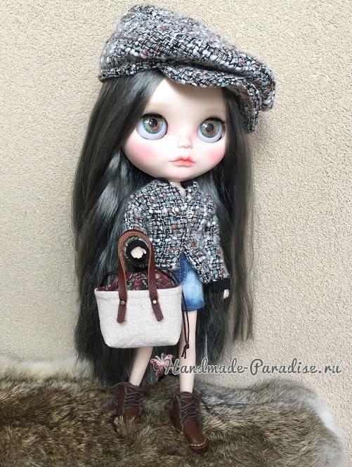 Как сшить кожаные ботинки и сумочку для куклы (4)
