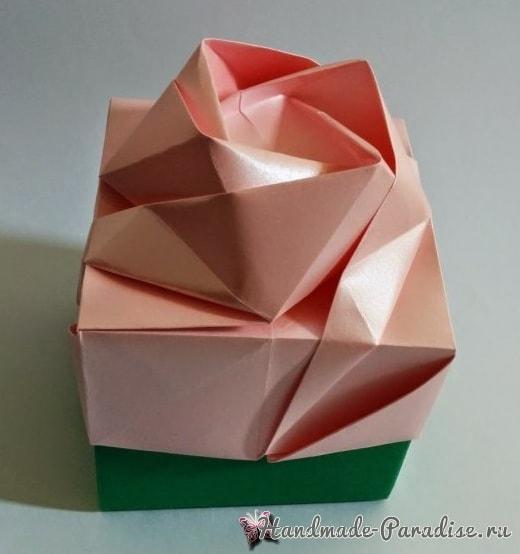 Коробочка РОЗА в технике оригами (5)