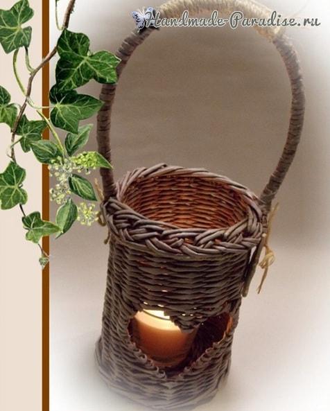Плетение из газет кашпо и фонаря с сердечком (1)