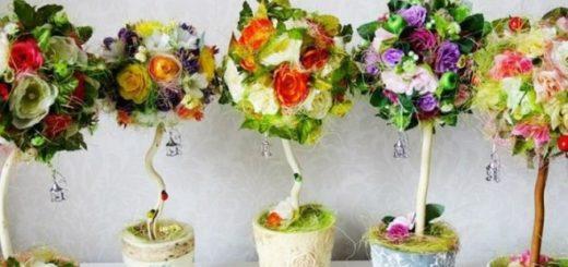 Топиарии, как украшение на свадебном столе