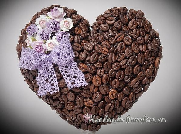 Топиарий Валентинка и вазочка из кофейных зерен (1)