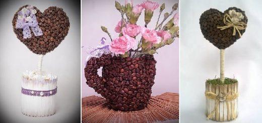 Топиарий Валентинка и вазочка из кофейных зерен (3)