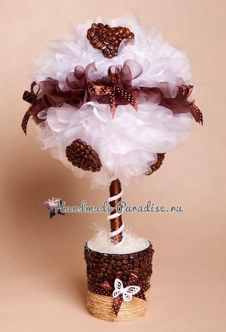 Валентинка из кофейных зерен и кофейный топиарий (3)