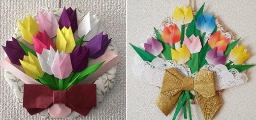 Букет тюльпанов из бумаги в технике оригами (1)