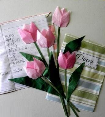 Букет тюльпанов из бумаги в технике оригами