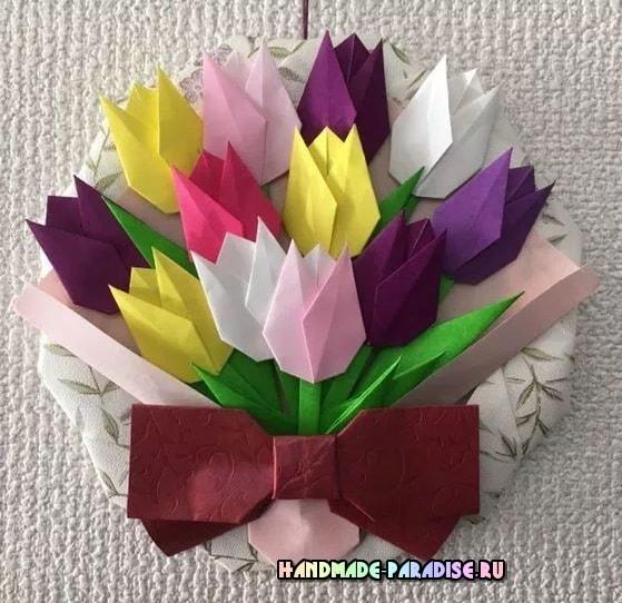Букет тюльпанов из бумаги в технике оригами (2)