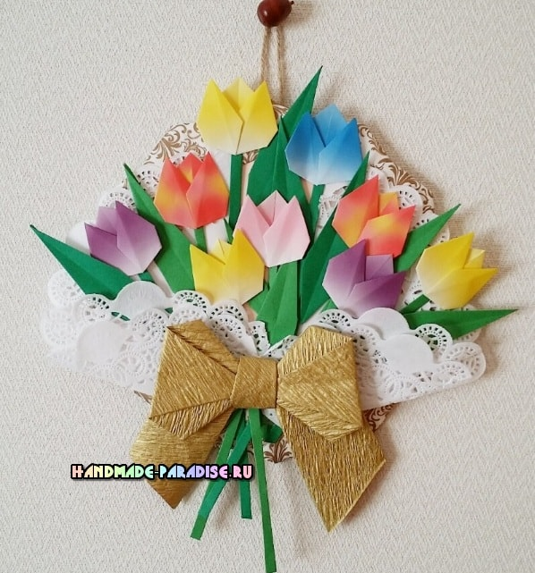 Букет тюльпанов из бумаги в технике оригами (3)