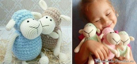 Детская вязаная игрушка - овечка крючком (1)