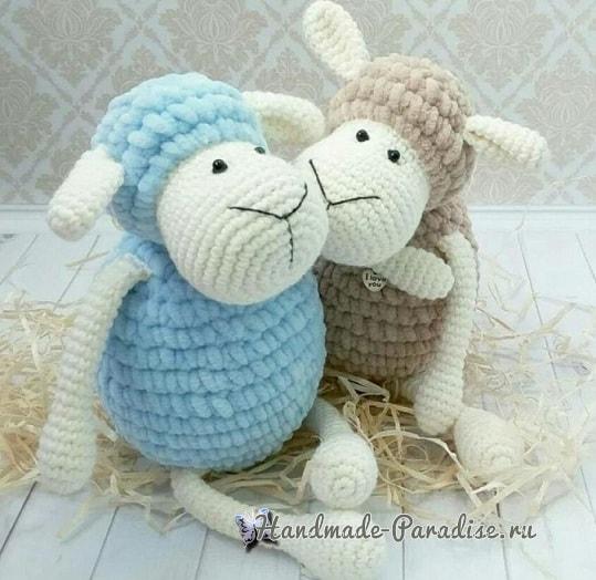 Детская вязаная игрушка - овечка крючком (2)