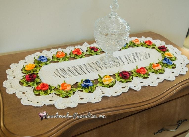 Элегантная салфетка крючком с розами (3)