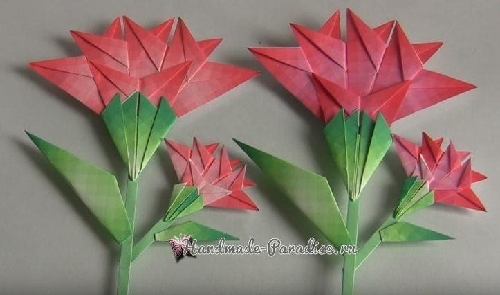 Гвоздики из бумаги в технике оригами (1)