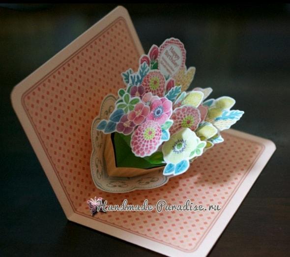 Корзина с цветами. Объемная открытка Pop-up (1)