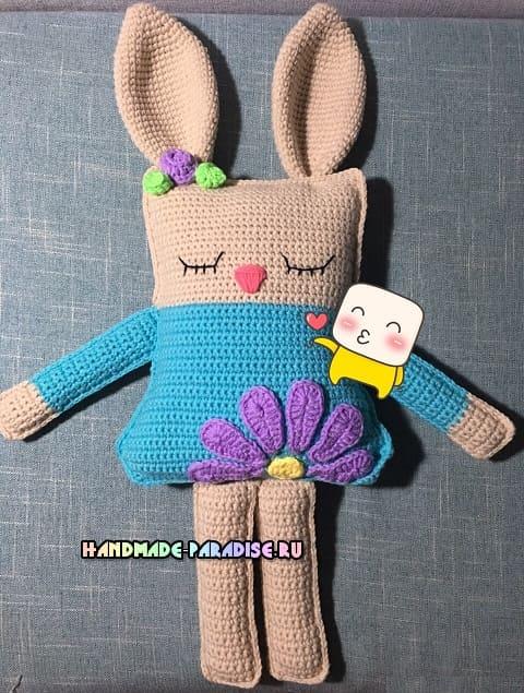 Кролик-сплюшка. Вяжем крючком игрушку-подушку (3)