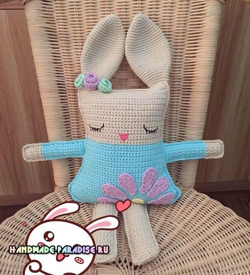 Кролик-сплюшка. Вяжем крючком игрушку-подушку (4)