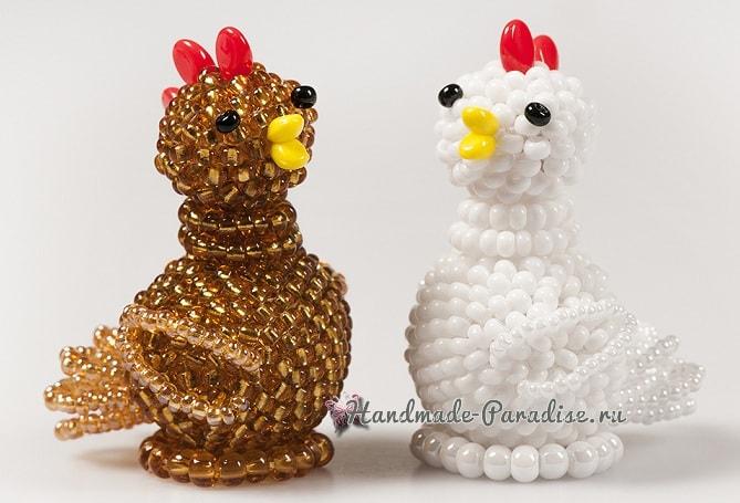 Петушок и курочка из бисера. Мастер-класс по плетению (1)