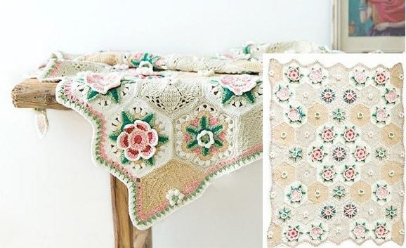 Плед «Цветочный сад». Вязание крючком из мотивов (1)