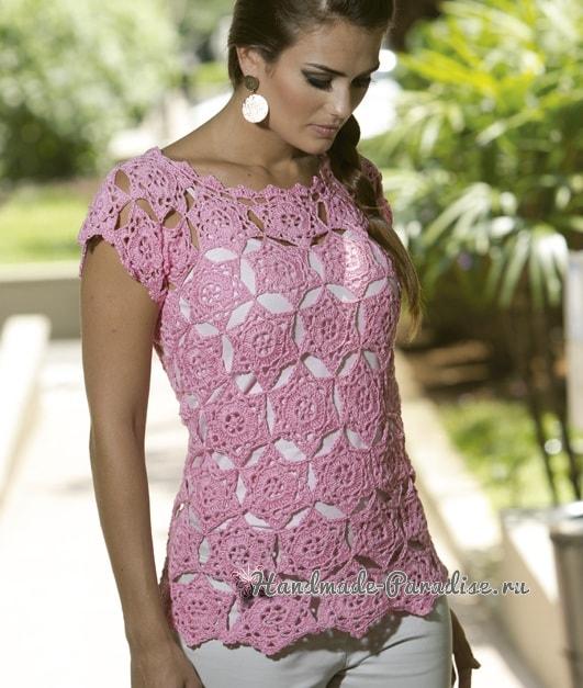 Розовая летняя блуза крючком из мотивов (1)