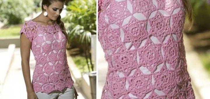 Розовая летняя блуза крючком из мотивов (2)