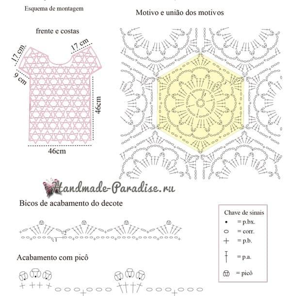 Розовая летняя блуза крючком из мотивов (3)
