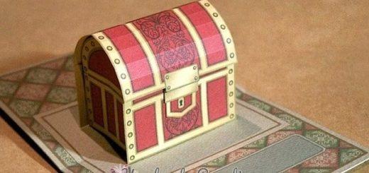 Сундук с сокровищами. Объемная открытка Pop-up (5)