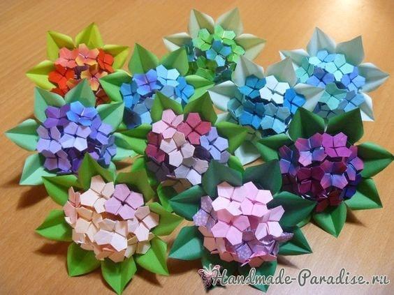 Цветущая гортензия из бумаги в технике оригами (2)
