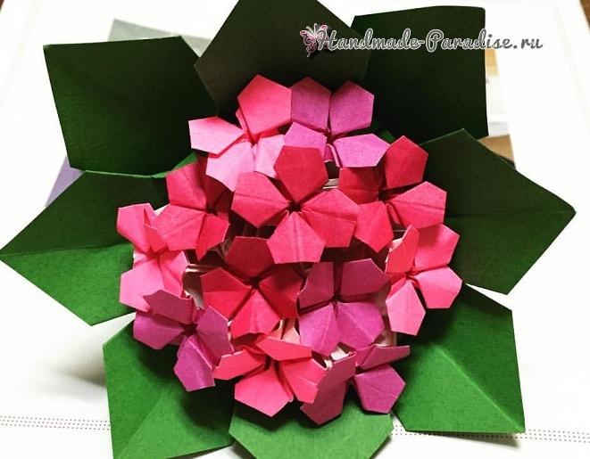 Цветущая гортензия из бумаги в технике оригами (3)