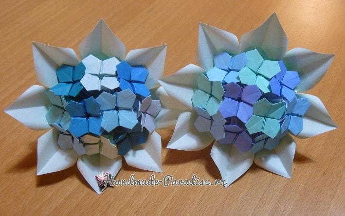 Цветущая гортензия из бумаги в технике оригами (4)