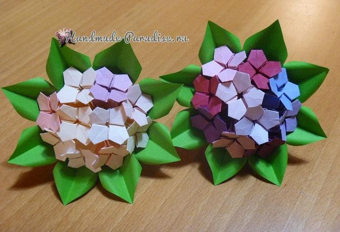 Цветущая гортензия из бумаги в технике оригами (5)