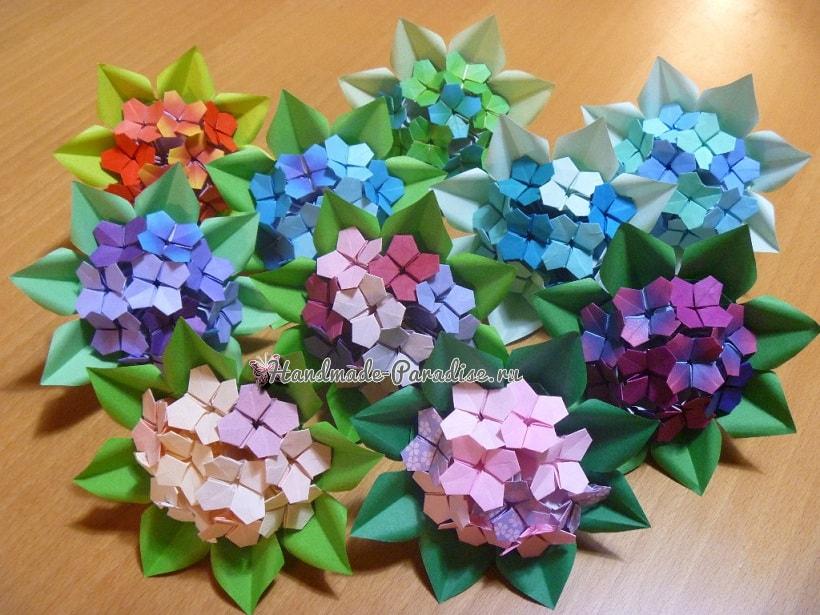 Цветущая гортензия из бумаги в технике оригами (6)