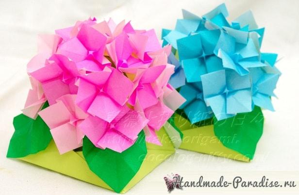 Цветущая гортензия из бумаги в технике оригами (7)