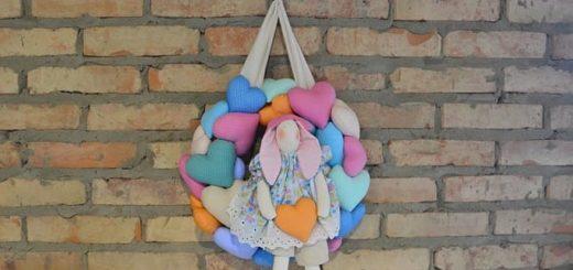 Текстильный венок с сердечками и кроликом (3)