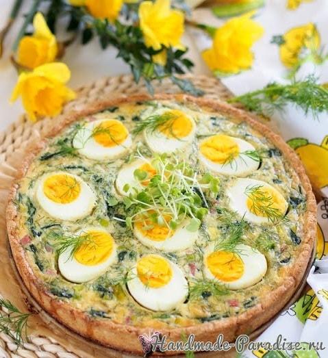 Весенний пасхальный тарт со шпинатом и яйцами (1)