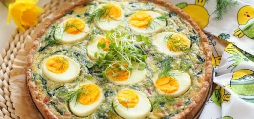Весенний пасхальный тарт со шпинатом и яйцами (5)