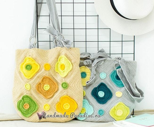 Весенняя сумка крючком в стиле пэчворк (2)
