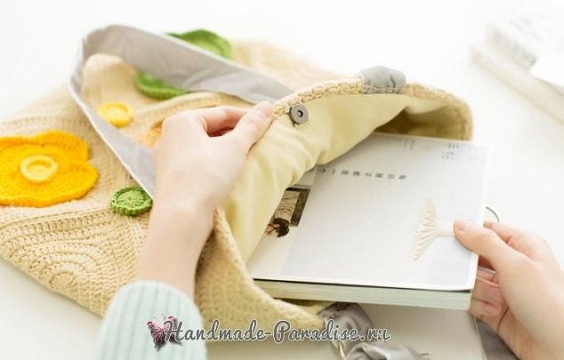 Весенняя сумка крючком в стиле пэчворк (4)