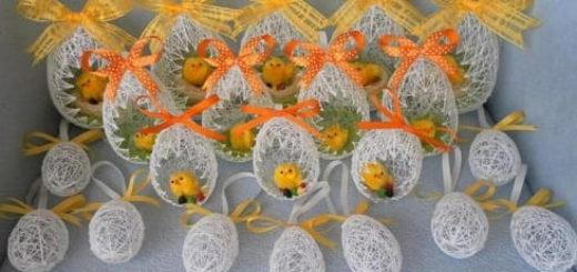 Воздушные пасхальные яйца из ниток